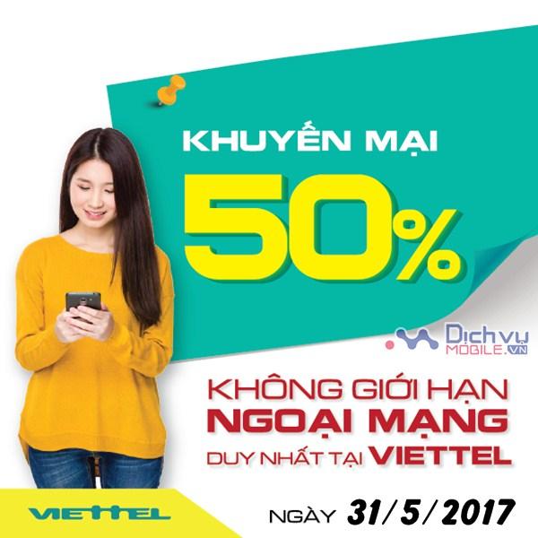 Viettel Khuyến mãi 50% thẻ cào ngày 31/5