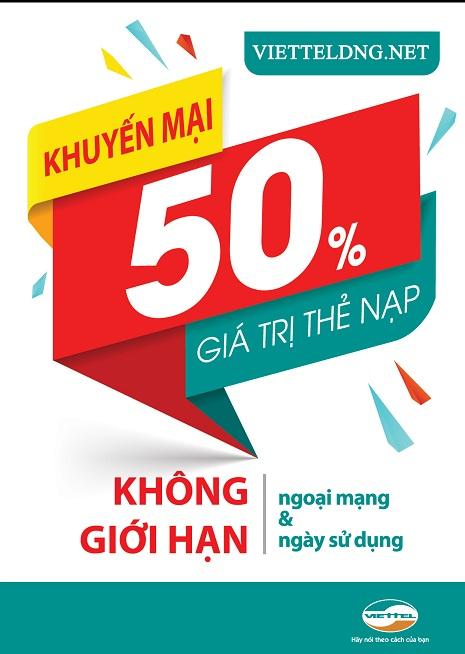 Viettel khuyến mãi 50% thẻ nạp ngày vàng cuối tháng, duy nhất 30/06/2017