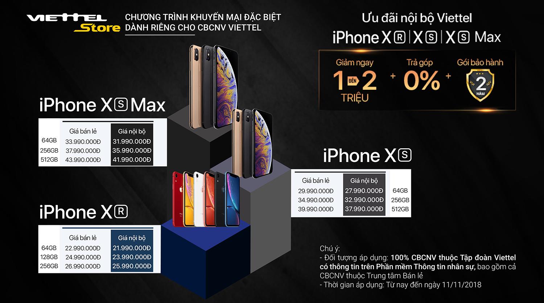 Người Viettel tiếp tục được ưu đãi khi mua iPhone XS/XS Max/XR
