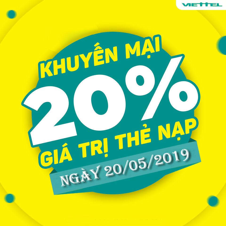Viettel khuyến mãi thẻ cào 20% vào ngày 20/5/2019