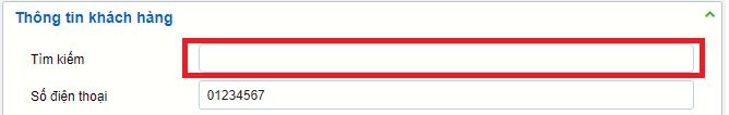 Cửa sổ tìm kiếm thông tin khách hàng