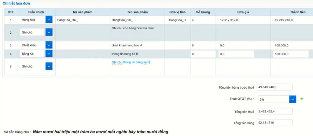 Ví dụ về cách điền chi tiết hóa đơn