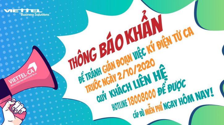 thong bao cap nhat chu ky so viettel-ca